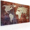 Obraz Rdzawa mapa świata tryptyk