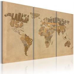 Obraz - Stara mapa świata - tryptyk