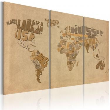 Obraz  Stara mapa świata  tryptyk