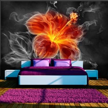 Fototapeta  Ognisty kwiat pośród dymu