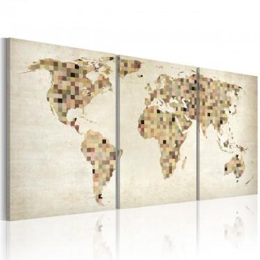 Obraz  Mapa świata  kwadraty