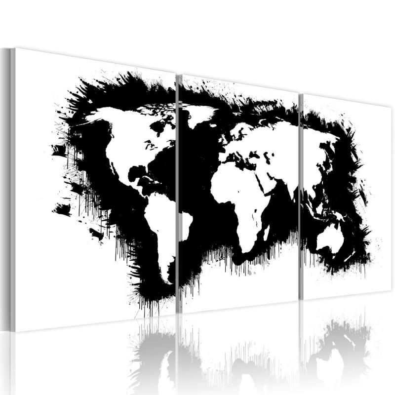 Obraz  Mapa świata w czerni i bieli
