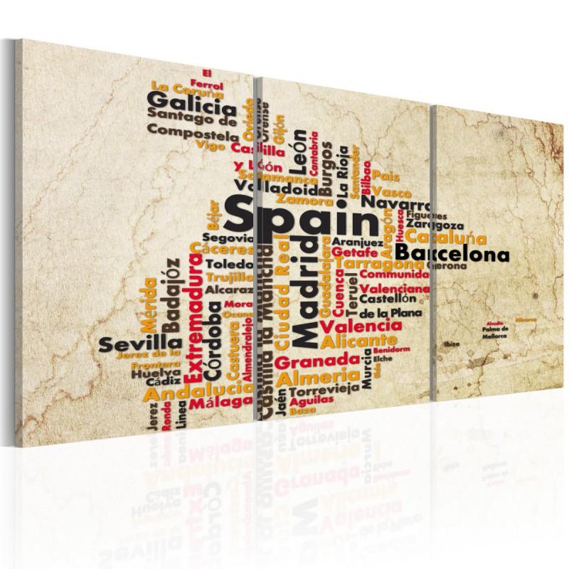 Obraz  Hiszpania mapa w kolorach flagi narodowej