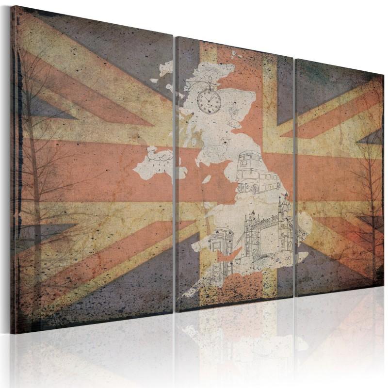 Obraz  Mapa Wielkiej Brytanii  tryptyk