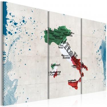 Obraz  Mapa Włoch  tryptyk
