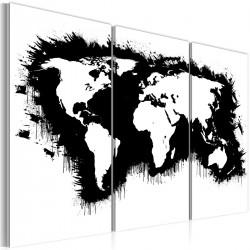 Obraz  Monochromatyczna mapa świata  tryptyk
