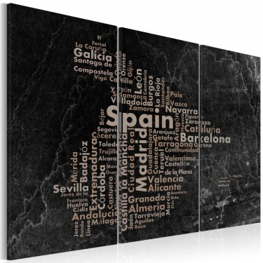 Obraz  Text map of Spain on the blackboard  triptych
