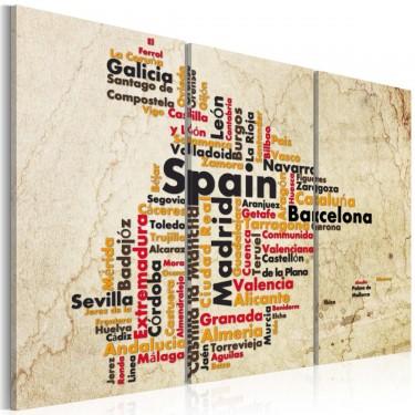 Obraz  Mapa Hiszpańskie miasta  tryptyk
