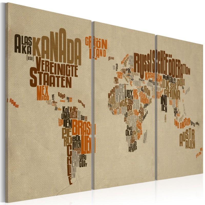 Obraz  Mapa świata (Język niemiecki)  tryptyk