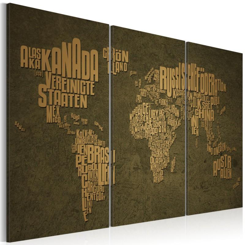 Obraz  Mapa świata, język niemiecki beżowe kontynenty  tryptyk