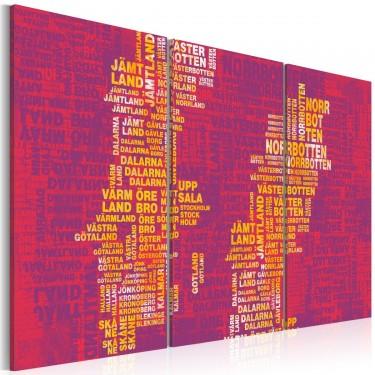 Obraz  Mapa Szwecji (różowe tło)  tryptyk