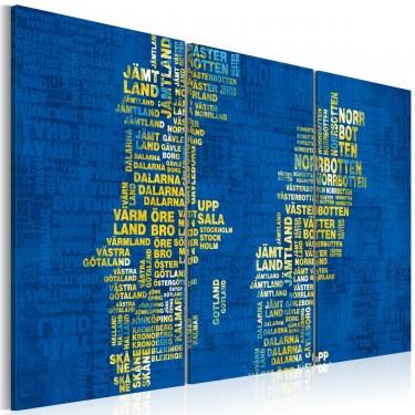Obraz  Mapa Szwecji (niebieskie tło)  tryptyk