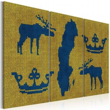 Obraz  Mapa świata sweter z motywem Szwecji  tryptyk