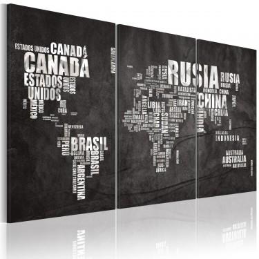 Obraz  Mapa świata (Język hiszpański)  tryptyk