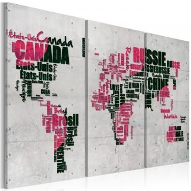 Obraz  Mapa świata (Język francuski)  tryptyk