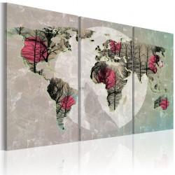 Obraz  Mapa świata pełnia księżyca  tryptyk