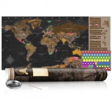 Mapa zdrapka  Brązowa mapa  plakat (wersja angielska)