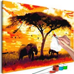 Obraz do samodzielnego malowania  Afryka o zachodzie słońca