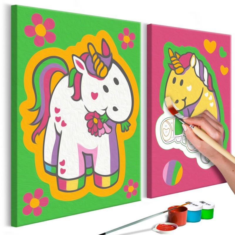 Obraz do samodzielnego malowania  Jednorożce (zieleń i róż)