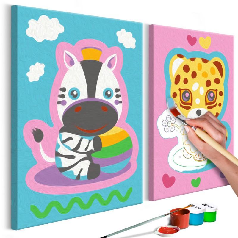 Obraz do samodzielnego malowania  Zebra & Leopard (Pink & Blue)