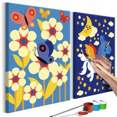 Obraz do samodzielnego malowania  Motyl i jednorożec