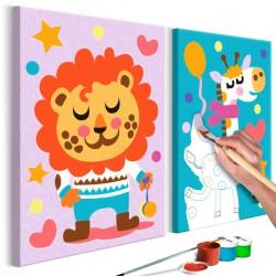 Obraz do samodzielnego malowania  Lew i żyrafa