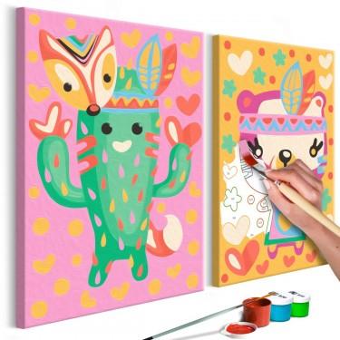 Obraz do samodzielnego malowania  Kaktus i miś