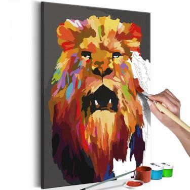 Obraz do samodzielnego malowania  Kolorowy lew