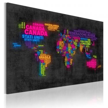 Obraz  Mapa świata  nazwy państw w języku włoskim