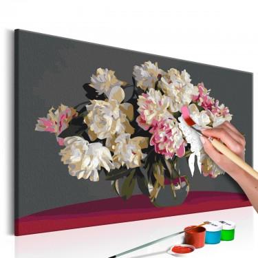 Obraz do samodzielnego malowania  Białe kwiaty w wazonie