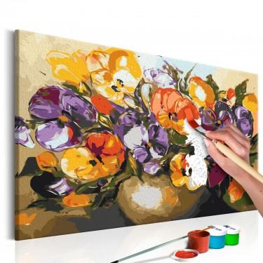 Obraz do samodzielnego malowania  Bratki w wazonie