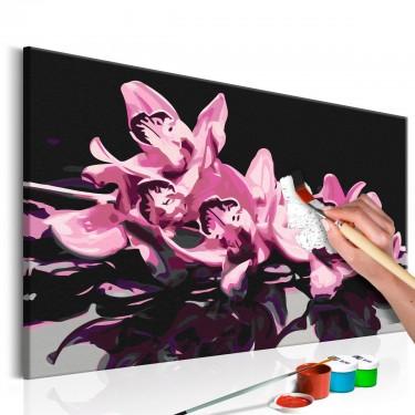 Obraz do samodzielnego malowania  Różowa orchidea (czarne tło)