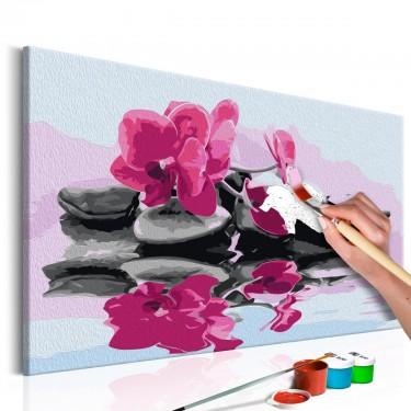 Obraz do samodzielnego malowania  Orchidea i kamienie zen w lustrze wody