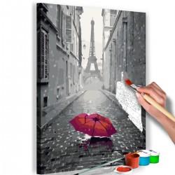 Obraz do samodzielnego malowania - Paryż (Czerwona parasolka)