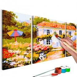 Obraz do samodzielnego malowania - Domek na wsi