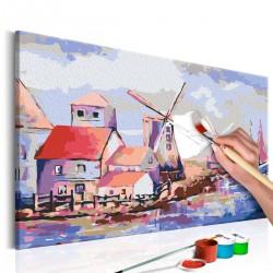 Obraz do samodzielnego malowania - Wiatraki (krajobraz)
