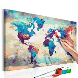 Obraz do samodzielnego malowania - Mapa świata (błękitno-czerwona)