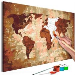 Obraz do samodzielnego malowania - Mapa świata (kolory ziemi)