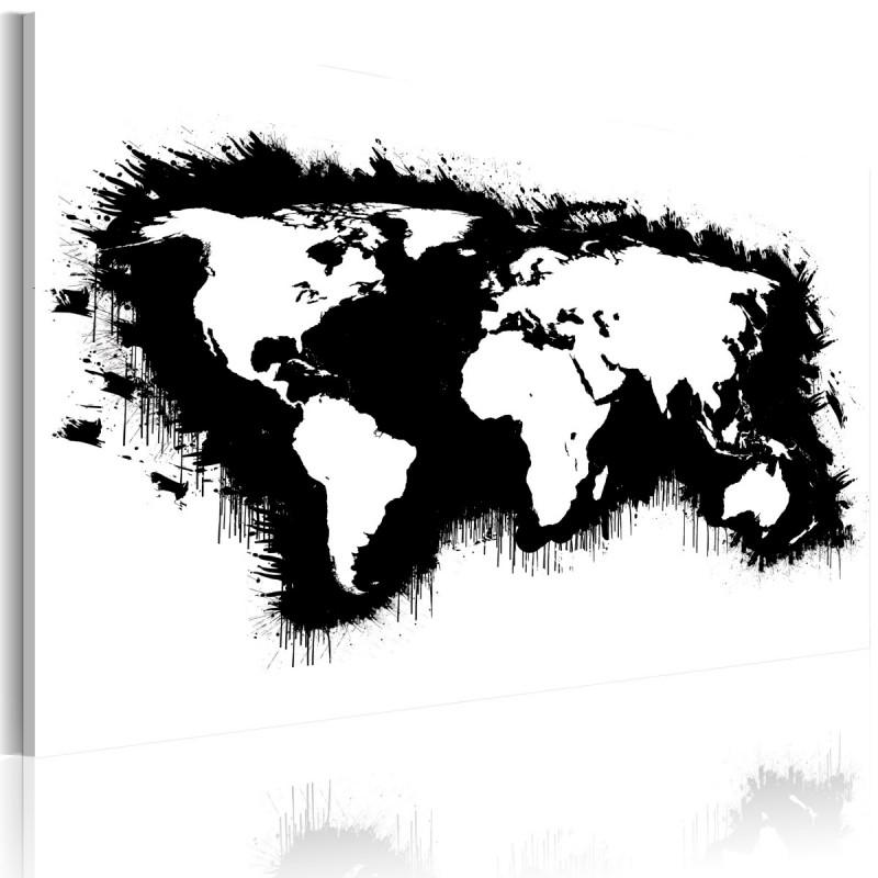 Obraz  Monochromatyczna mapa świata
