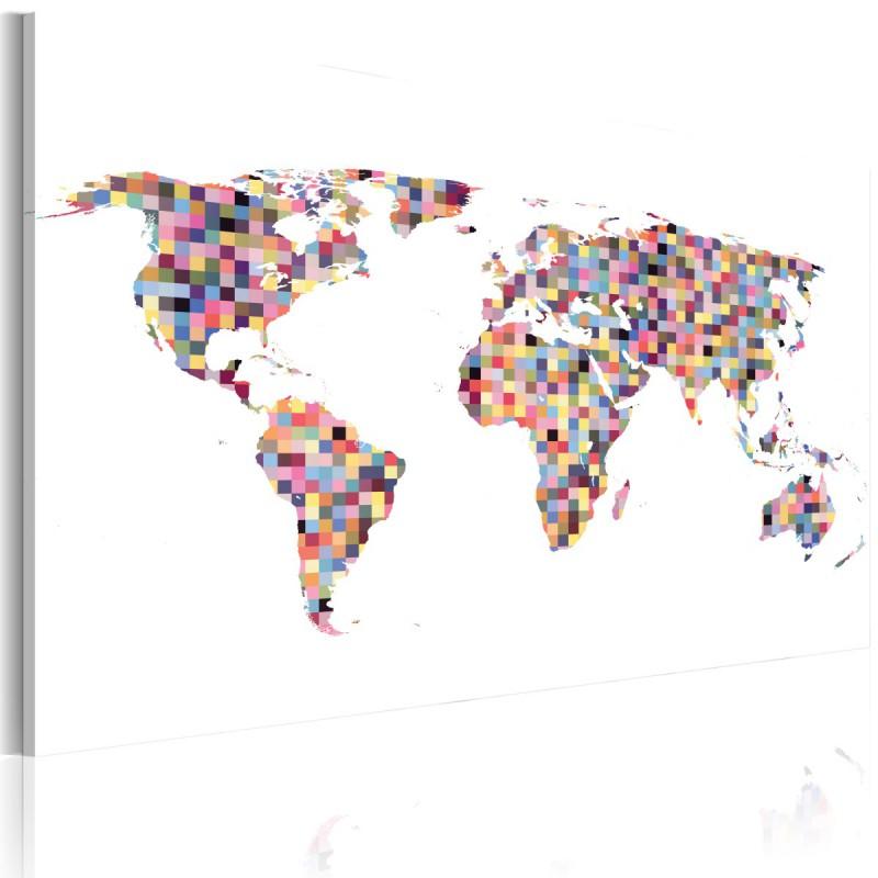 Obraz  Mapa świata  piksele