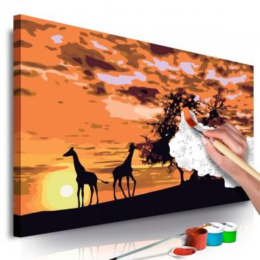 Obraz do samodzielnego malowania  Na sawannie (żyrafy i słonie)