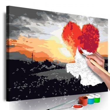 Obraz do samodzielnego malowania  Drzewo w kształcie serca (wschód słońca)
