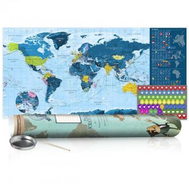 Mapa zdrapka  Niebieska mapa  plakat (wersja angielska)