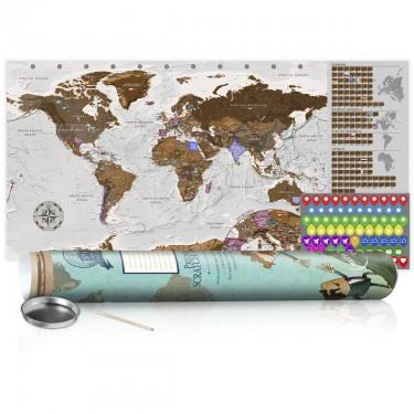 Mapa zdrapka  Szara mapa  plakat (wersja angielska)