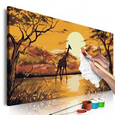 Obraz do samodzielnego malowania  Żyrafa o zachodzie słońca