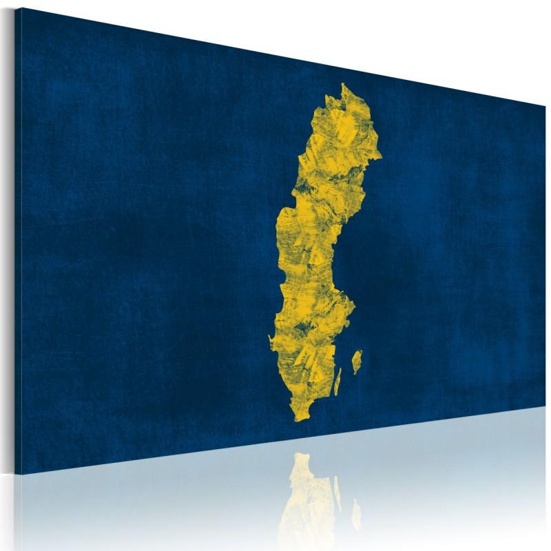 Obraz  Malowana mapa Szwecji