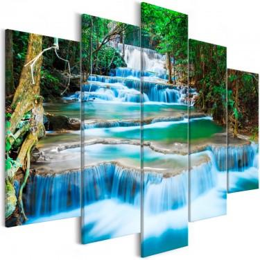 Obraz  Wodospad w Kanchanaburi (5częściowy) szeroki