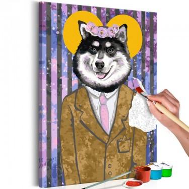 Obraz do samodzielnego malowania  Pies w garniturze