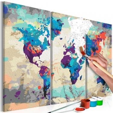 Obraz do samodzielnego malowania  Mapa świata (błękitnoczerwona) 3częściowa