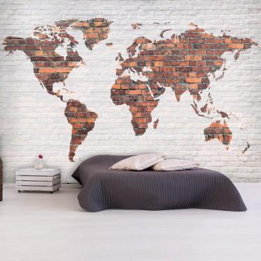 Fototapeta  Mapa świata Ceglany mur